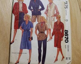 Vintage 1983 McCall's Pattern 8670 - Dress, Coatdress, Jumper, Uncut, FF, Size 14