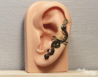 STEAMPUNK princess EAR CUFF - bronze and green steampunk ear cuff, no piercing ear cuff, adjustable ear cuff, steampunk jewelry