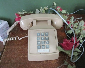 Desk Telephone Push Button ITT Beige Phone