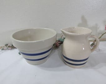 Pottery Bowl and Pitcher Blue Stripe R.R.P. Co Roseville Ohio