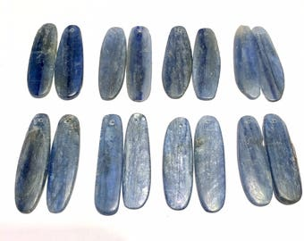 Large long Blue Kyanite top drilled smooth rustic flat shards one pair or more