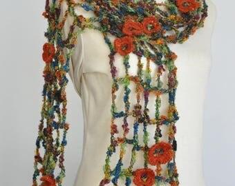 Spring Night - Crochet Multicolor Floral Scarf