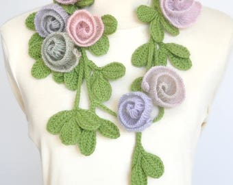 Tender Love - Spring - Crochet Rose and Leaf Lariat