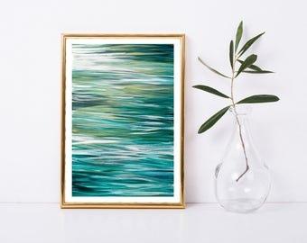 Abstract Art Printable, Abstract Ocean Painting, Abstract Ocean Print, Beach House Art, Coastal Home Decor, Water Art Print, 8x12 Printable