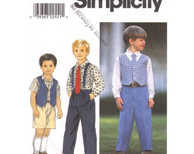 Boys Sewing Pattern Shirt Vest Pants Shorts Neck Tie Suspenders Simplicity 8543 Size 3 4 5 6