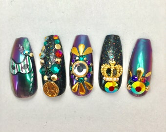 Mardi Gras Coffin Fake Nails, Extra Long Fake Nails, Press On Nails, New Orleans Nail Art, Duochrome Nails, 3D Japanese Nail Art for Party