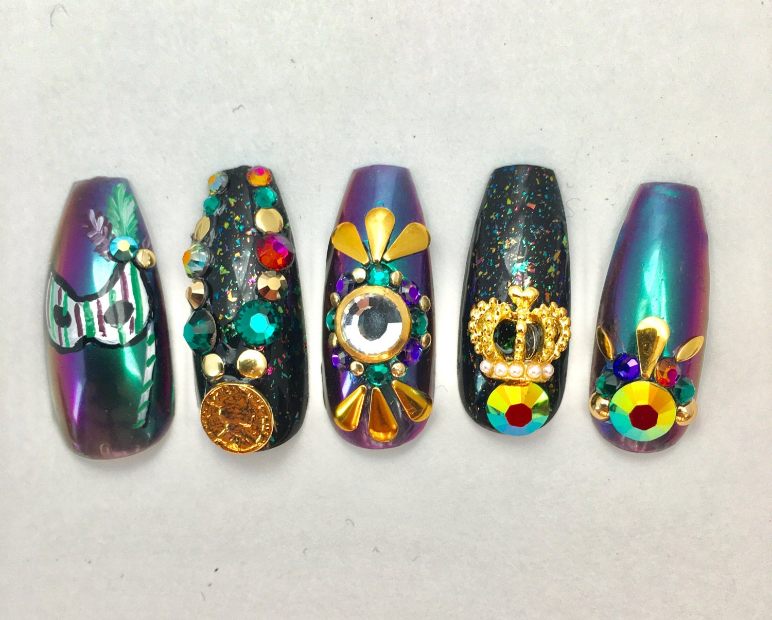 Mardi gras coffin fake nails extra long fake nails press on mardi gras coffin fake nails extra long fake nails press on nails new orleans nail art duochrome nails 3d japanese nail art for party prinsesfo Choice Image