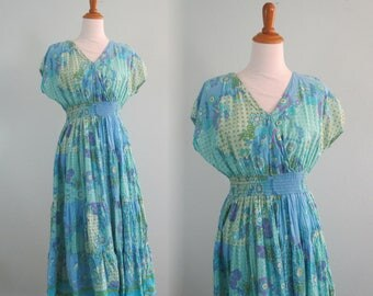 Vintage Indian Cotton Dress by Phool - Pretty 90s Aqua India Cotton Sundress - Vintage 1990s Sundress M L