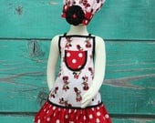 Minnie Mouse Apron, Kids Apron, Childrens Aprons, Girls Apron Set, Child's Apron, Toddler Apron, Ruffle Apron, Chef Set
