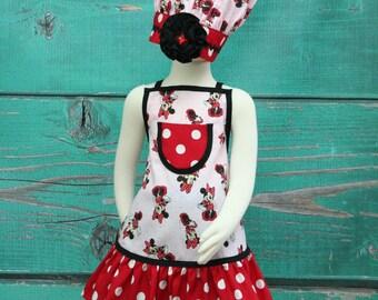 Kids Apron - Kids Ruffle Apron - Minnie Mouse
