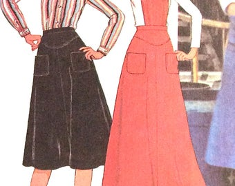Uncut  McCall's 5632 70s Cute overalls maxi and mini skirt. Factory Folede  Bust  36 inches 1970s Vintage Sewing Pattern  Bust 36