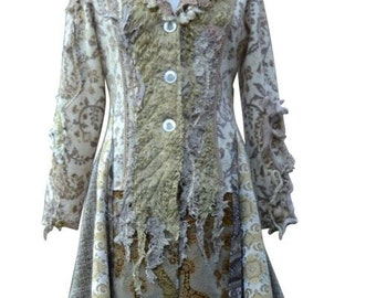 Sweater COAT, fantasy boho wearable art clothing, refashioned unique up cycled one of a kind Festival Eco-Couture. Size M. Ready to ship