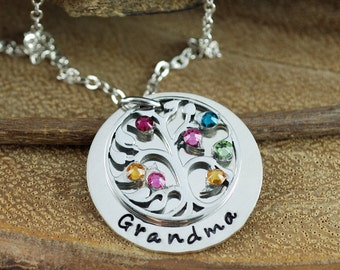 Personalized Grandma Necklace with Tree of Life, Mother's Necklace with Birthstones, Grandmother Jewelry, Birthstone Family Tree Necklace