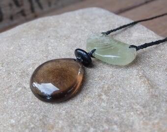 Smoky Quartz, Prehnite, beach pebble necklace. Tribal jewellery handmade in Australia, unique macrame gem stone jewelry - black yellow green