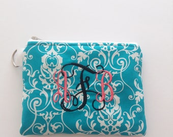 Turquoise Monogram Cosmetic Pouch, Personalized bag,  Makeup pouch, makeup bag, gift idea, gift for woman