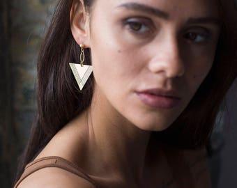 Triangle Earring - Brass Earring - Dangle Earrings - Drop Earring - Geometric Earrings - Earrings For Women - Minimal Earring - Nickel Free