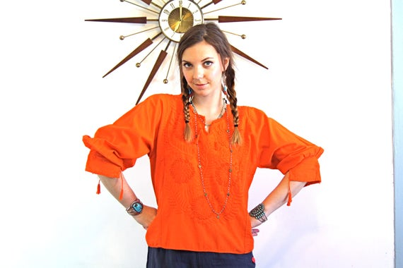 Vintage Mexican Blouse 70s Bright Orange Red Floral Ethnic Embroidered Cotton Hippie Boho Folk Top Long Sleeve 1970s Gypsy Peasant Shirt