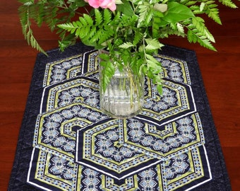 Quilted Table Runner, Creative Triangles, Navy, Blue and Green Stripe