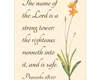 STRONG TOWER - Proverbs 18:10 Christian Home Decor Vintage Verses Calligraphy Wall Art 5x7 Inspirational Wall Art Scripture Art Orange Ixia