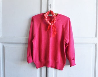 vintage 70s plain sweatshirt pink small - medium