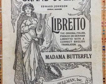 1907 Metropolitan Opera House, Grand Opera Libretto for Madama Butterfly, R