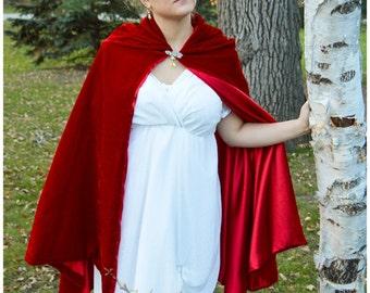 Velvet Cape Cloak Tippet for Regency Victorian Gown Dress in red