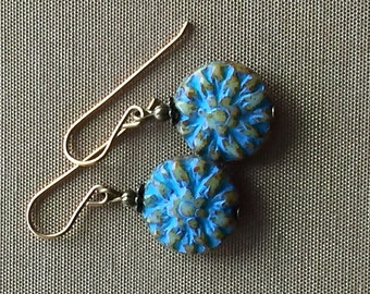 Blue czech glass earrings, glass drops, Blue glass earrings, blue glass flower earrings, blue green earrings, small flower earrings