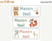 ON SALE 30 PERSONALIZED Name Labels. Daycare Labels, Stickers,  Camp Labels, Tribal  Animals, Fox, Tiger, Bunny, Bear, Deer,  Woodland Anima