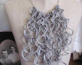 Beautiful Gray Soft Suede Leather Curly Fringe Bib Necklace Choker (#26)