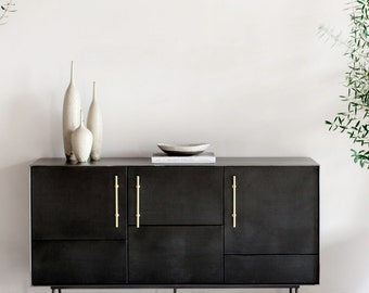 Leather, Steel and Brass Credenza