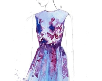 Forever Floral, print from original watercolor and mixed media fashion illustration by Jessica Durrant