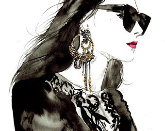 Good to be Goth, print from original watercolor and mixed media fashion illustration by Jessica Durrant