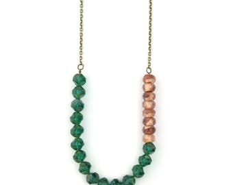 Emerald and Rose Gold Beaded Necklace | Green Beaded Jewelry | Boho Beaded Necklace | Blush Beads | Copper Beads | Modern Necklace |