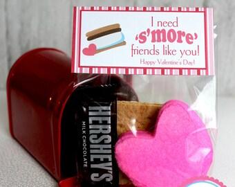 DIY Printable Valentine Bag Topper, Smore valentine, S'more valentine, s'more friends valentine, Smore bag topper, Valentine's Day