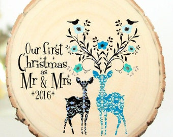 Gift for the Couple - Wedding Present Mr and Mrs Ornament Our First Christmas - Newlywed Gift - Wedding Gift Customized Ornament - XMAS004