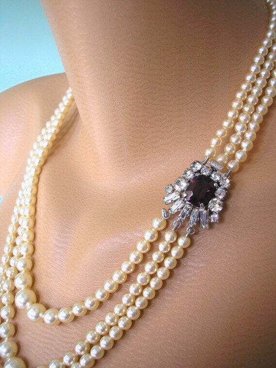 Amethyst And Pearl Necklace Purple Bridal Choker Great