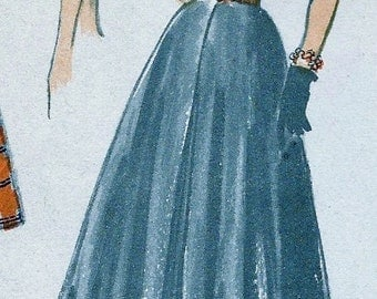 1950's  Advance Pattern 5625  * RARE * GLAM  Asymmetric Bare Shoulder or Off Shoulder Blouse and  Skirt for Evening * Size 18, bust 36