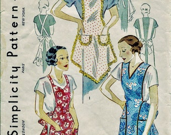 1930s Vintage Simplicity  Pattern 1699 - ADORABLE  Hostess Bib Farm  Apron with Ruffles  //  Size 32-34 * UNUSED