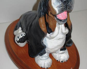 "Basset Hound Sculpture - ""Aroo"" Howling One-of-a-Kind Piece Handsculpted in Paper Clay"