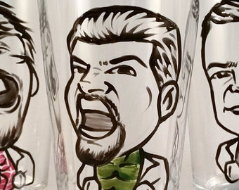 Custom Groomsman Gift - Groomsman Gift - Groomsmen Gifts - Vintage Style Original Caricature Beer Glass - Hand Painted
