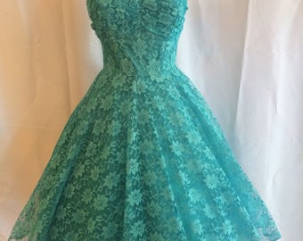 Sweet 1950s 1960s Turquoise Teal Lace Prom Party Dress