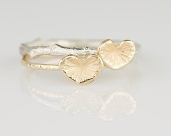 Delicate 14k Gold Begonia Leaf and Twig Ring Set - Two Hand Carved Solid 14k Gold Stacking Rings - Dainty and Botanical Jewelry