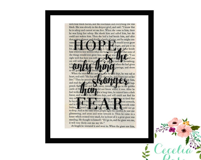 Hope Is The Only Thing Stronger Than Fear Inspirational Upcycled Vintage Book Page Box Frame of Print Hunger Games Quote Suzanne Collins
