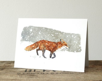 Red Fox Winter Holiday Card, Christmas Note Card