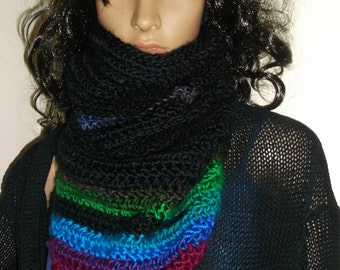 Hand Crochet Kerchief Cowl, Scarf, Neckwarmer, Winter Wear, (OOAK) Black and Multi, Winter Accessory, Triangle Cowl, Triangle Neckwarmer