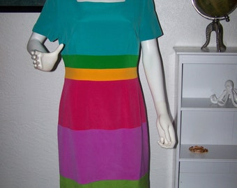 Vintage 90s Maggie London Silk Dress Size 12 Colorful Striped Rainbow Womens Mid Length Style Fashion Spring Social Cute Fun Mothers Day
