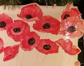POPPIES  XXL Ceramic-Watercolor Textured Wall Hanging sculpture  original handmade art by Faith Ann Originals b