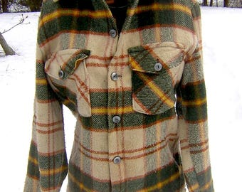 Vintage 1960s Wool Plaid Jacket - Canadian Lumberjac Shirt Jacket Small to Medium Woman