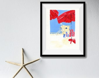 The Beach art print,beach umbrella painting ,beach cabin art, nautical art, red, blue, coastal art print, nursery decor, beach art print