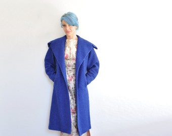 mod cobalt blue boucle swing coat . extra wide collar evening jacket .small.medium.large